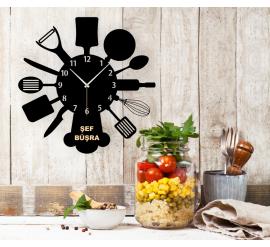 Kişiye Özel Mutfak Gereçleri Silüetli Duvar Saati