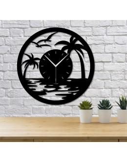 Palmiye ve Sahil Temalı Dekoratif Duvar Saati