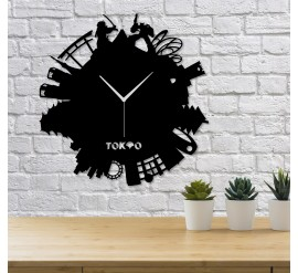Tokyo Silüetli Dekoratif Duvar Saati