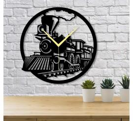 Tren Temalı Dekoratif Duvar Saati