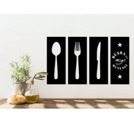 4 Parça Kişiye Özel Dekoratif Mutfak Panosu
