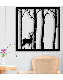 Orman ve Geyik Silüetli Dekoratif Duvar Tablosu