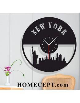Newyork Silüetli Dekoratif Duvar Saati